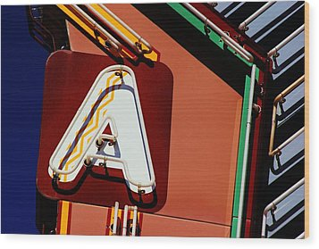 Neon A - Aztec Theater Wood Print by Daniel Woodrum