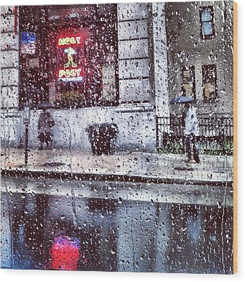 Neon And Rain Wood Print by Toni Martsoukos