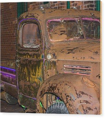 Neon And Rust Wood Print