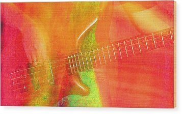 Neon Bass Fusion Wood Print by James Hammen