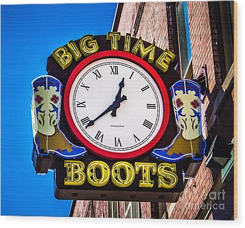 Neon Boots Wood Print by Perry Webster