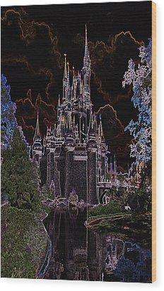 Neon Castle Wood Print