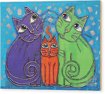 Neon Cat Trio #1 Wood Print by Cynthia Snyder