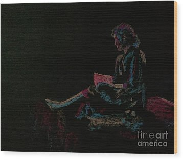 Neon Girl With Book Wood Print by Diane Phelps