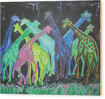Wood Print featuring the painting Neon Longnecks by Diane Pape