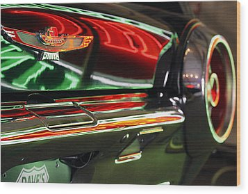 Wood Print featuring the photograph Neon Reflections by Shoal Hollingsworth