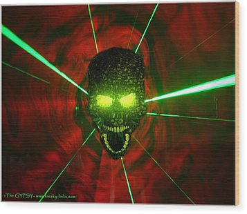 Neon Skull Wood Print by The GYPSY And DEBBIE