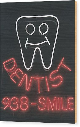 Neon Smile Wood Print by Caitlyn  Grasso