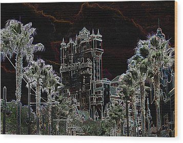 Neon Tower Wood Print by Eric Liller
