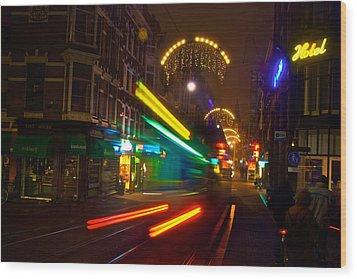 Neon Tram Leidestraat Wood Print by Jonah  Anderson