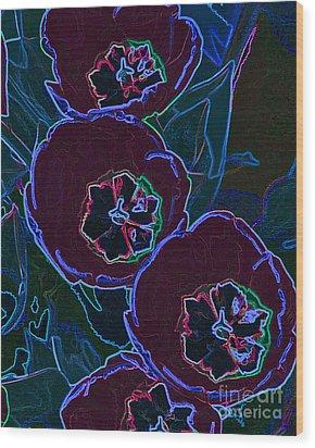 Neon Tulips Wood Print