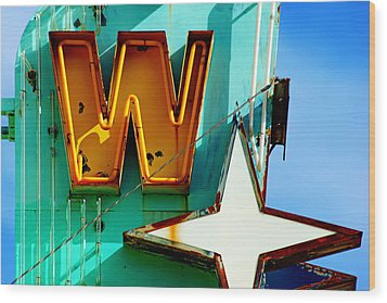 Wood Print featuring the photograph Neon W - The West Theater by Daniel Woodrum