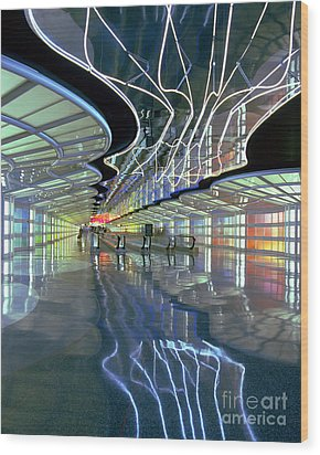Neon Walkway At Ohare Wood Print by Martin Konopacki