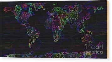 Neon World Map Wood Print by Zaira Dzhaubaeva