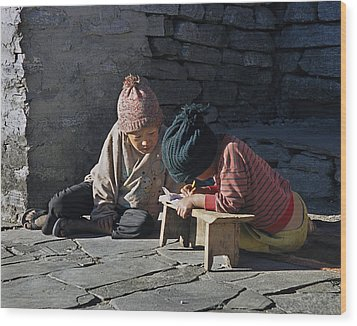 Nepalese Boys Drawing  Wood Print