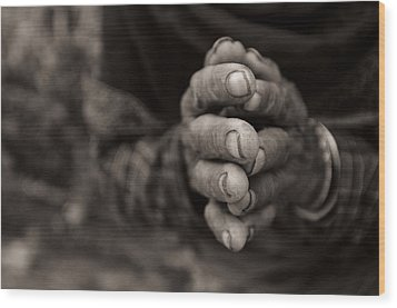 Nepalese Greeting Wood Print by James David Phenicie