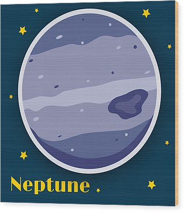 Neptune Wood Print by Christy Beckwith