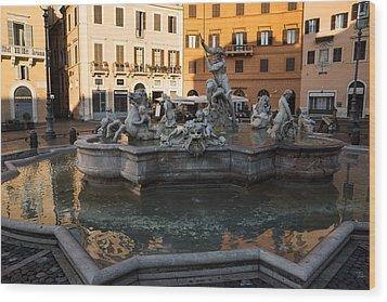 Wood Print featuring the photograph Neptune Fountain Rome Italy by Georgia Mizuleva