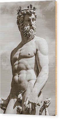 Neptune Statue In Florence Wood Print
