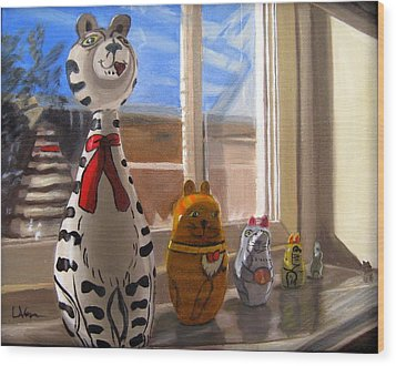 Wood Print featuring the painting Nested Cats by LaVonne Hand