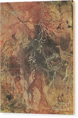 Wood Print featuring the mixed media Nesting Dialogue  by Delona Seserman