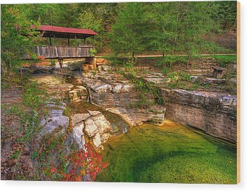 Covered Bridge In Spring - Ponca Arkansas Wood Print