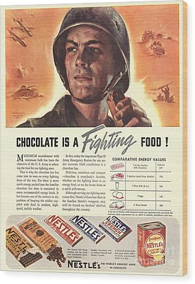 Nestle�s 1940s Usa Propaganda Chocolate Wood Print by The Advertising Archives