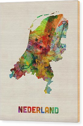 Netherlands Watercolor Map Wood Print by Michael Tompsett