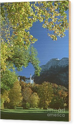 Neuschwanstein Castle Bavaria In Autumn Wood Print by Rudi Prott