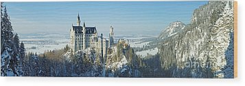 Neuschwanstein Castle Panorama In Winter Wood Print by Rudi Prott