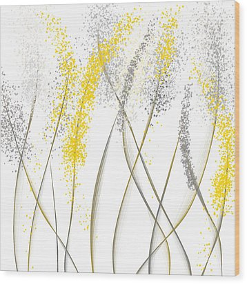 Neutral Sunshine - Yellow And Gray Modern Art Wood Print by Lourry Legarde