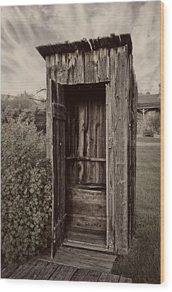 Nevada City Ghost Town Outhouse - Montana Wood Print by Daniel Hagerman