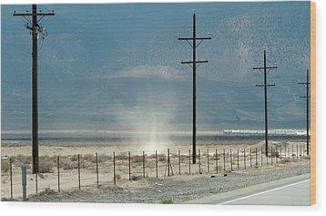 Nevada Dust Devil Wood Print by Jayne Wilson