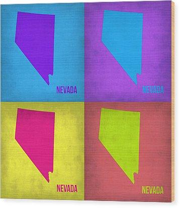 Nevada Pop Art Map 1 Wood Print by Naxart Studio