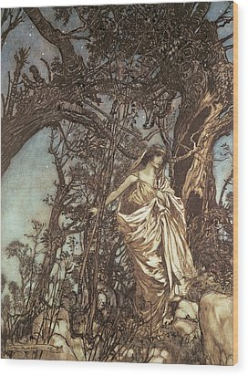 Never So Weary Never So Woeful Illustration To A Midsummer Night S Dream Wood Print by Arthur Rackham