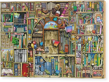 Neverending Stories Wood Print by Colin Thompson