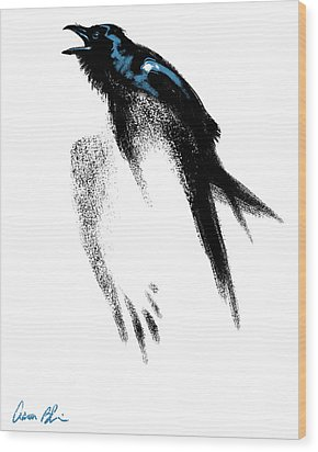 Wood Print featuring the digital art Nevermore  - Raven by Aaron Blaise