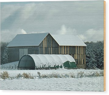 Wood Print featuring the photograph New And Old Barn Planks by Brenda Brown