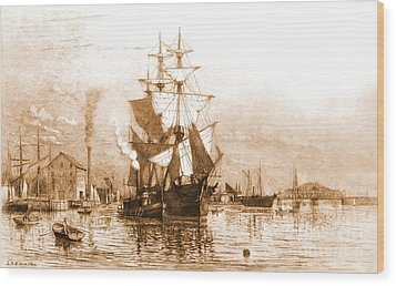 New Bedford Harbor 1903 Wood Print by Padre Art