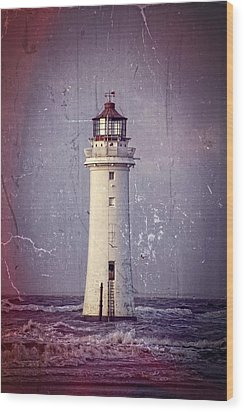 New Brighton Lighthouse Wood Print by Spikey Mouse Photography