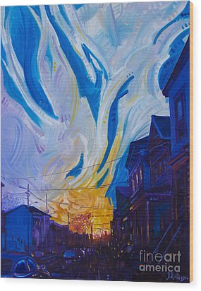 Wood Print featuring the painting New Brunswick Sunset by Michael Ciccotello