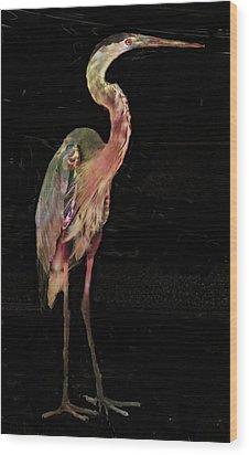 New Coat For The Heron Wood Print by Carol Kinkead