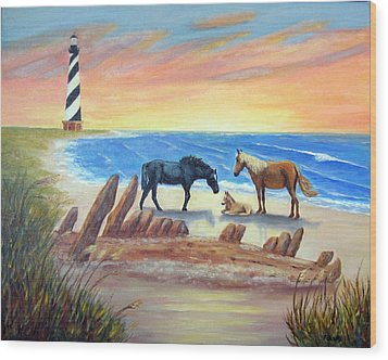 Wood Print featuring the painting New Day - Hatteras by Fran Brooks