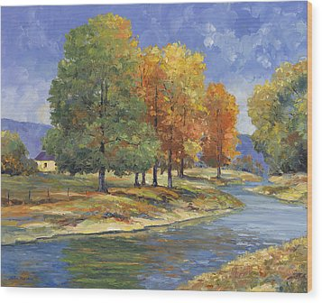 New England Autumn Wood Print by John Zaccheo