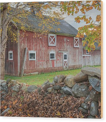New England Barn Square Wood Print by Bill Wakeley