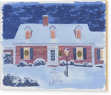 New England Christmas Wood Print by Mary Helmreich