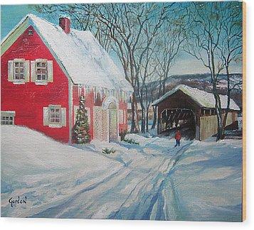 New England Covered Bridge Wood Print by Brett Gordon
