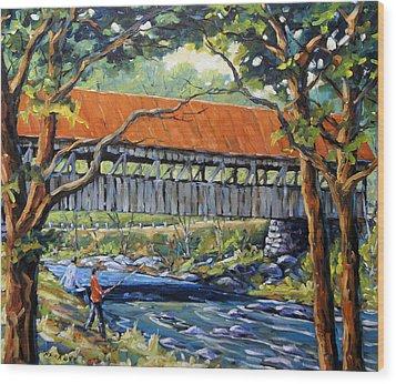 New England Covered Bridge By Prankearts Wood Print by Richard T Pranke
