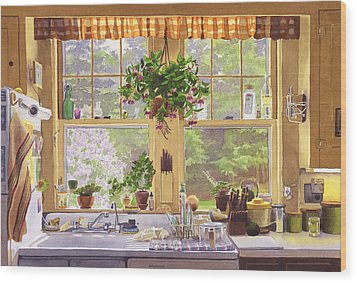 New England Kitchen Window Wood Print by Mary Helmreich