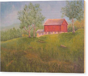 New England Red Barn At Sunrise Wood Print by Pamela Allegretto